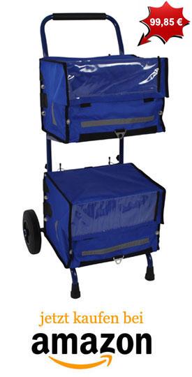 Zeitungswagen mit blauen Zeitungstaschen