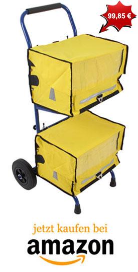 Zeitungswagen mit gelben Zeitungstaschen