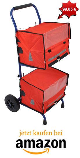 Zeitungswagen mit roten Zeitungstaschen